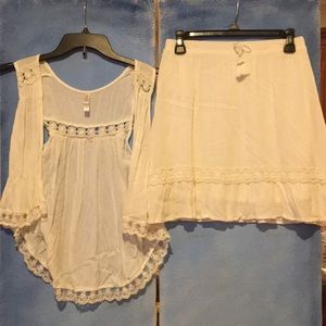 Matching White Vest And Skirt with Lace Detailing